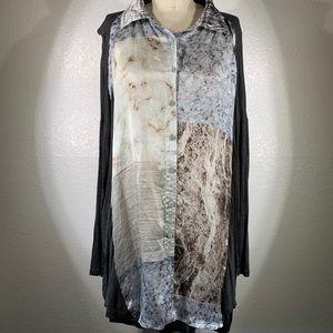 Johnny Was Biya mixed media marble silk tunic NWT